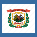 american, flag, state, west virginia icon