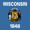 american, flag, square, state, wisconsin icon