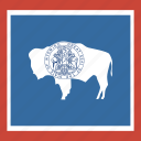 american, flag, square, state, wyoming icon