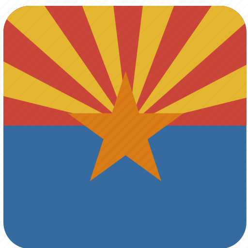 american, arizona, curved, flag, rounded, square, state icon