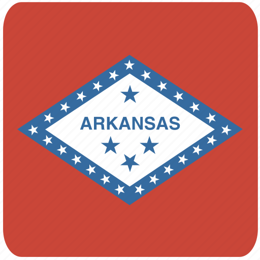 american, arkansas, curved, flag, rounded, square, state icon