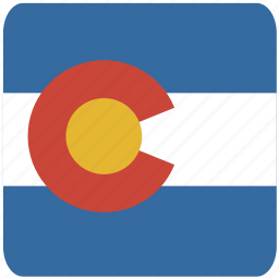 american, colorado, curved, flag, rounded, square, state icon