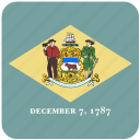 american, curved, delaware, flag, rounded, square, state icon