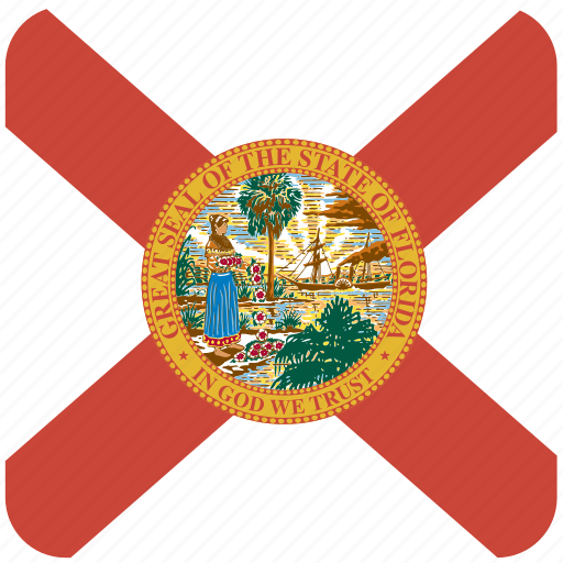 american, curved, flag, florida, rounded, square, state icon