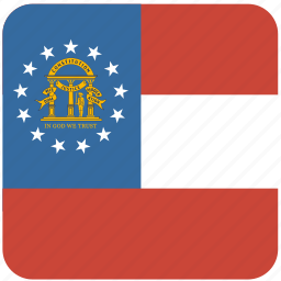 american, curved, flag, georgia, rounded, square, state icon