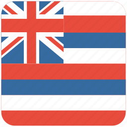 american, curved, flag, hawaii, rounded, square, state icon