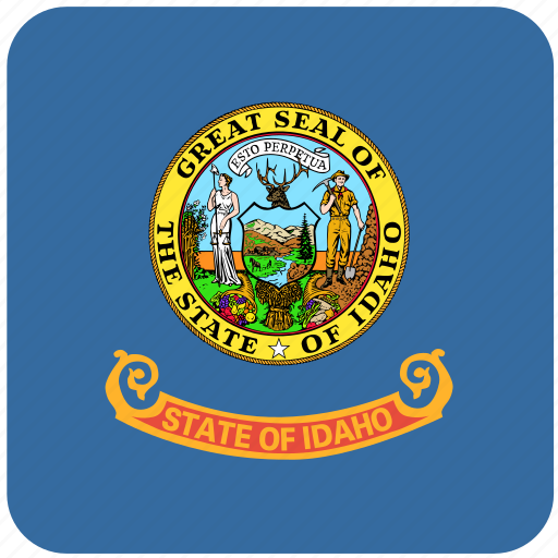 american, curved, flag, idaho, rounded, square, state icon