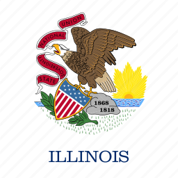 american, curved, flag, illinois, rounded, square, state icon
