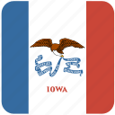 american, curved, flag, iowa, rounded, square, state icon