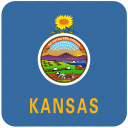 american, curved, flag, kansas, rounded, square, state icon