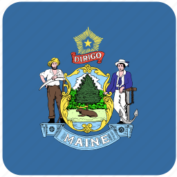 american, curved, flag, maine, rounded, square, state icon