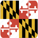 american, curved, flag, maryland, rounded, square, state icon