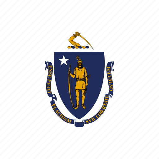 american, curved, flag, massachusetts, rounded, square, state icon
