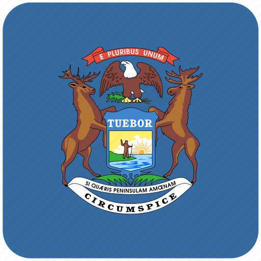 american, curved, flag, michigan, rounded, square, state icon