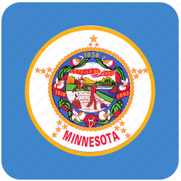 american, curved, flag, minnesota, rounded, square, state icon
