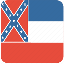 american, curved, flag, mississippi, rounded, square, state icon