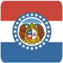 american, curved, flag, missouri, rounded, square, state icon