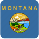 american, flag, montana, state icon
