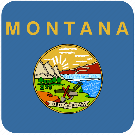 american, curved, flag, montana, rounded, square, state icon