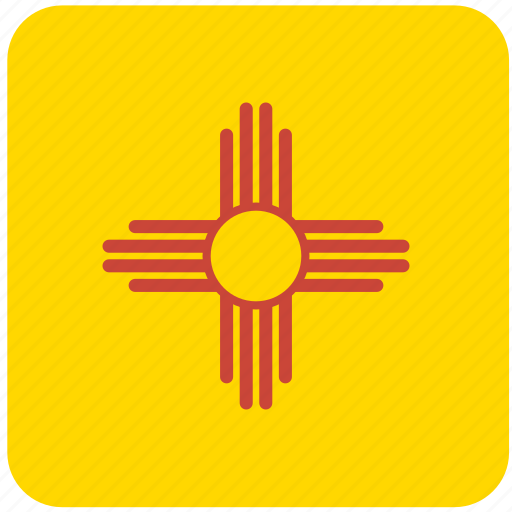 american, curved, flag, mexico, new, new mexico, state icon