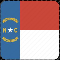 american, carolina, curved, flag, north, north carolina, state icon