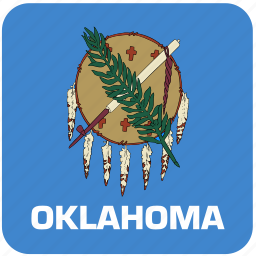 american, curved, flag, oklahoma, rounded, square, state icon