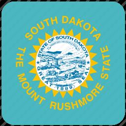 american, curved, dakota, flag, south, south dakota, state icon