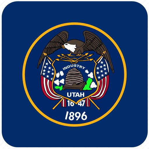 american, curved, flag, rounded, square, state, utah icon