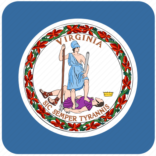 american, curved, flag, rounded, square, state, virginia icon
