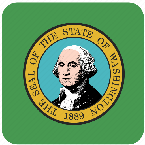 american, curved, flag, rounded, square, state, washington icon