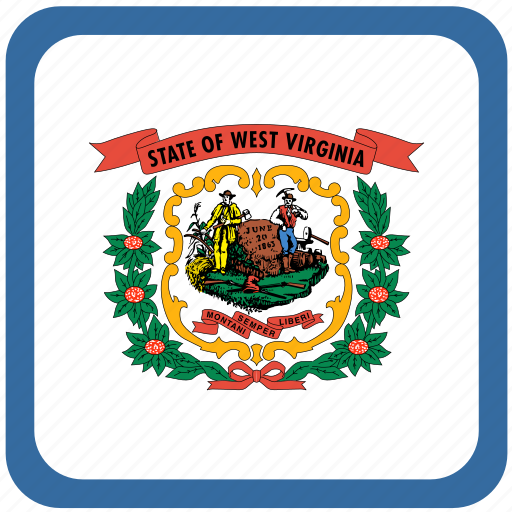 american, curved, flag, state, virginia, west, west virginia icon