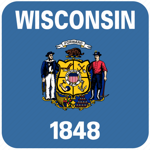 american, curved, flag, rounded, square, state, wisconsin icon