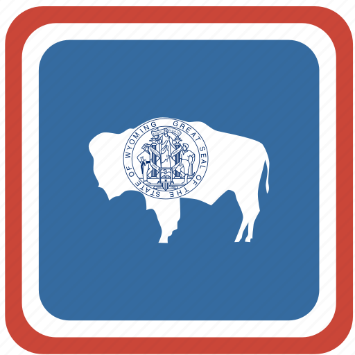 american, curved, flag, rounded, square, state, wyoming icon