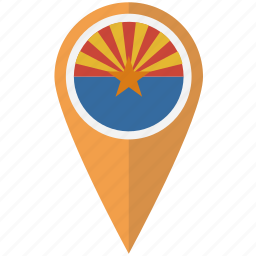 american, arizona, flag, pin, state icon