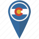 american, colorado, flag, pin, state icon