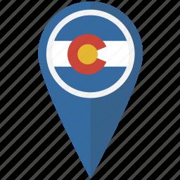 american, colorado, flag, pin, state icon