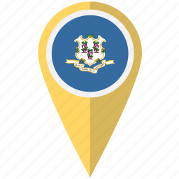 american, connecticut, flag, pin, state icon