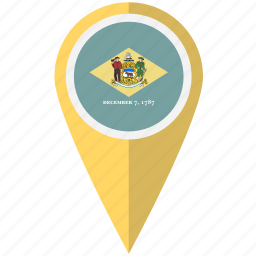 american, delaware, flag, pin, state icon