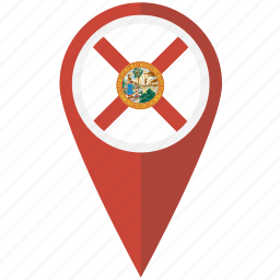 american, flag, florida, pin, state icon