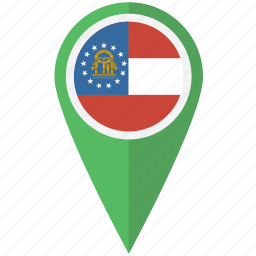 american, flag, georgia, pin, state icon