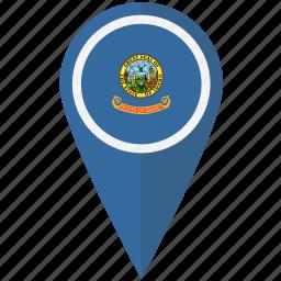 american, flag, idaho, pin, state icon