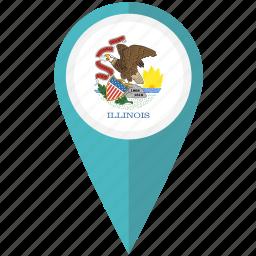american, flag, illinois, pin, state icon