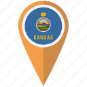 american, flag, kansas, pin, state icon