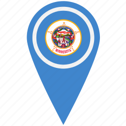 american, flag, minnesota, pin, state icon