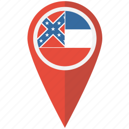 american, flag, mississippi, pin, state icon