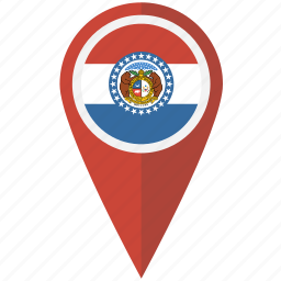 american, flag, missouri, pin, state icon