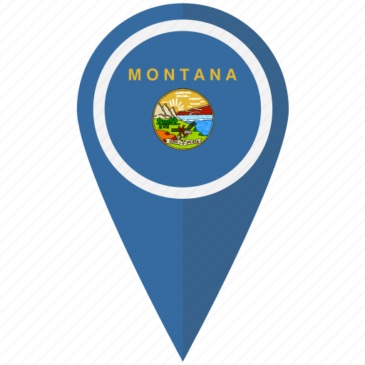 american, flag, montana, pin, state icon