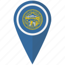 american, flag, nebraska, pin, state icon