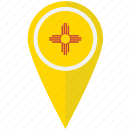 american, flag, mexico, new, pin, state icon