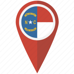 american, carolina, flag, north, pin, state icon